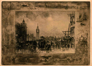 Félix Buhot, etching, Westminster Bridge