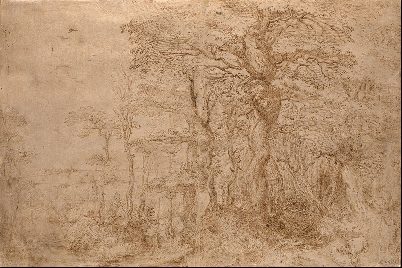 Pieter Bruegel the Elder, Landscape with Bears, drawing, 1554