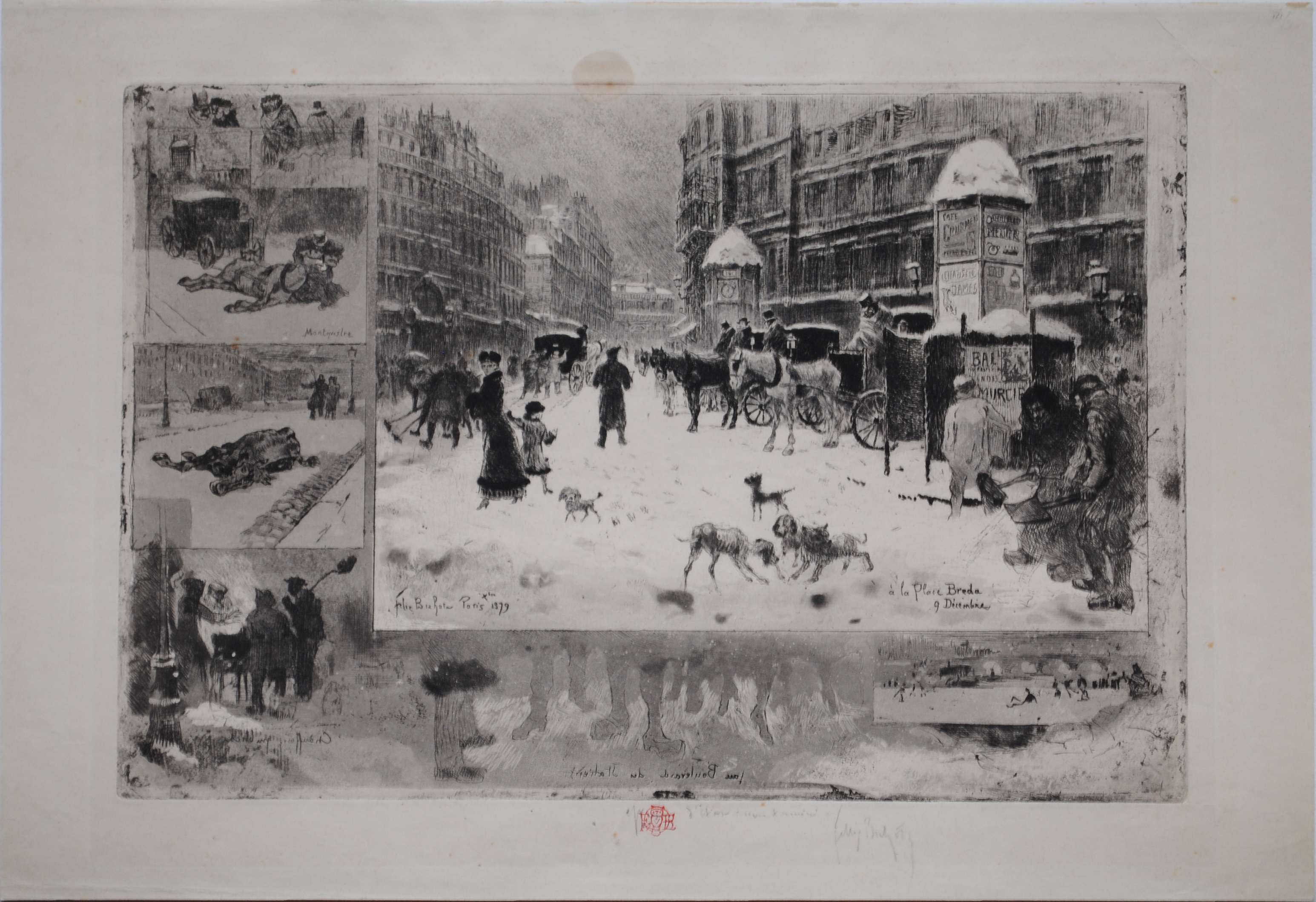 Felix Buhot, L'Hiver à Paris, etching and aquatint, 1879