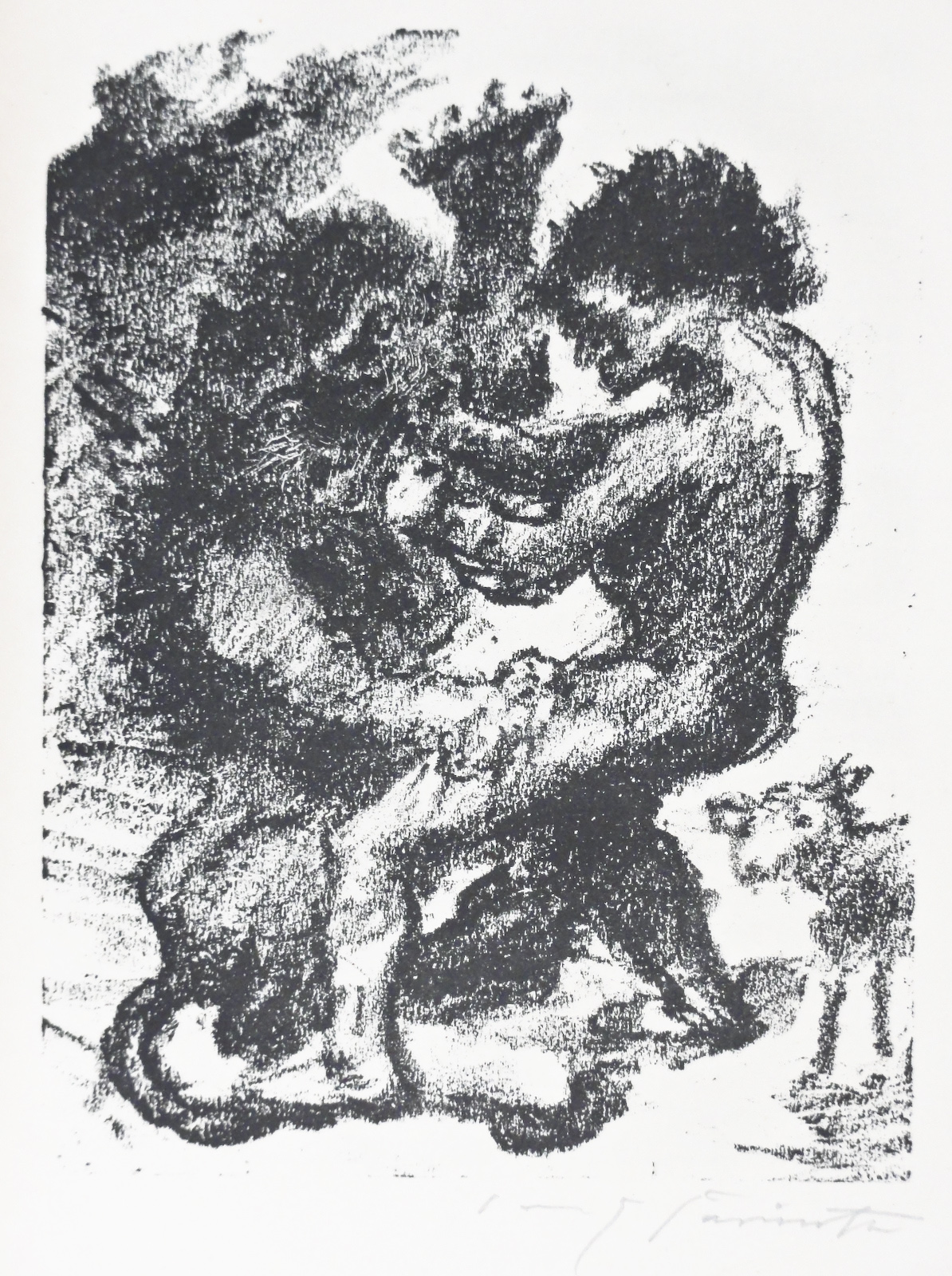 Lovis Corinth, David battles a Lion, lithograph