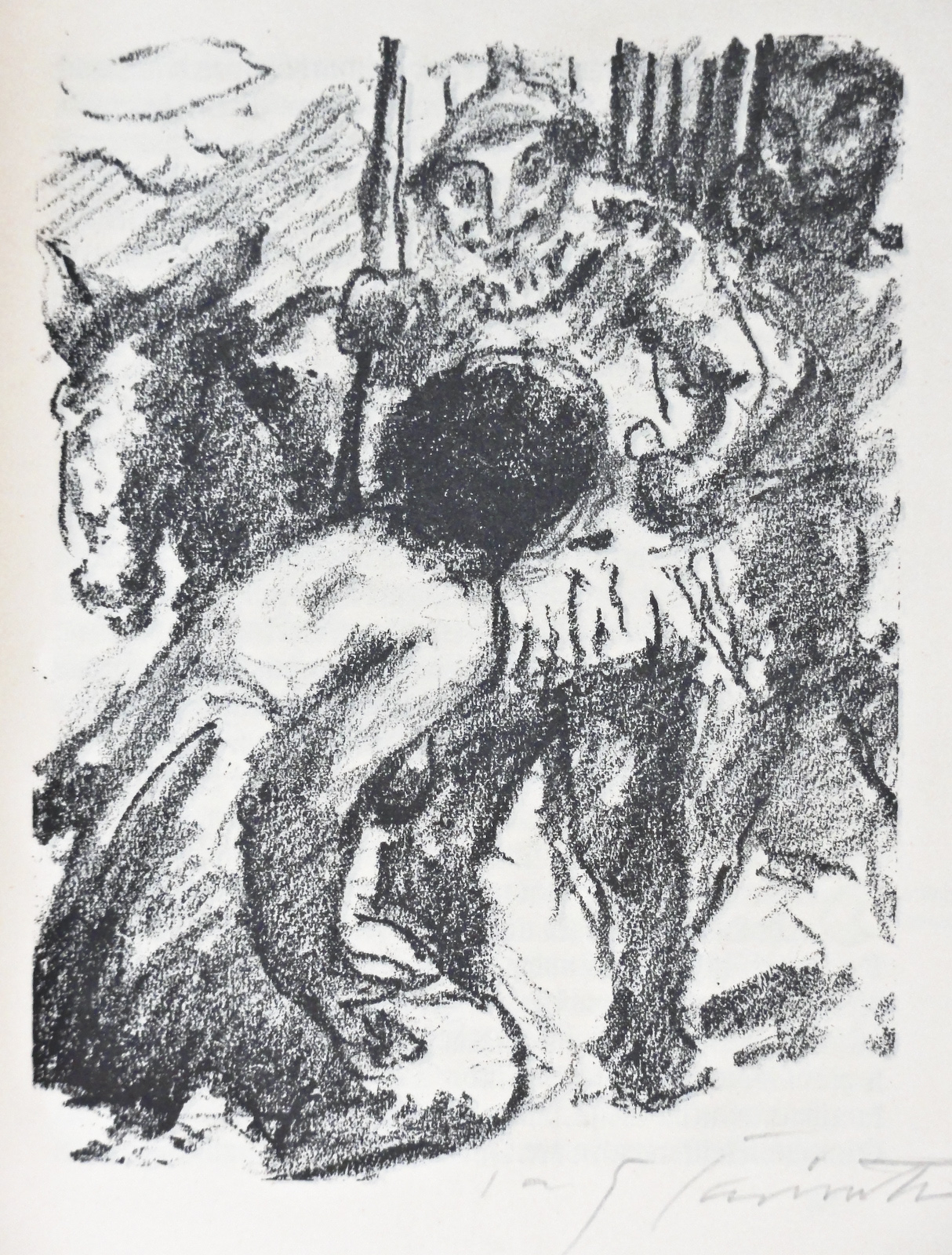 Lovis Corinth, Abigail falls on her Knees, lithograph
