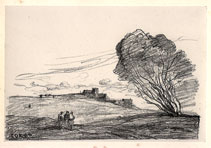 Camille Corot, lithograph, the Outlying Fort