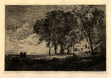 Camille Corot, Landscape in Italy, etching