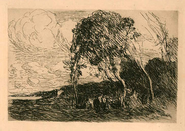 Camille Corot, Recollection of the Fortifications at Douai, etching