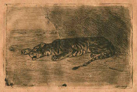 Eugène Delacroix, Tiger lying at the entrance to its Lair, etching