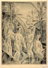 André Derain, Four Bathers in a Landscape, drypoint engraving