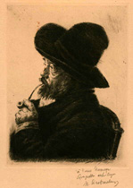 Marcellin Desboutin, Smoker in a Large Hat, drypoint