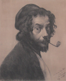 Marcellin Desboutin, Man with a Pipe, drypoint