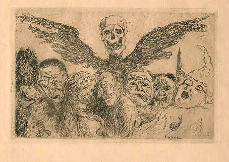 James Ensor, The Deadly Sins dominated by Death, etching