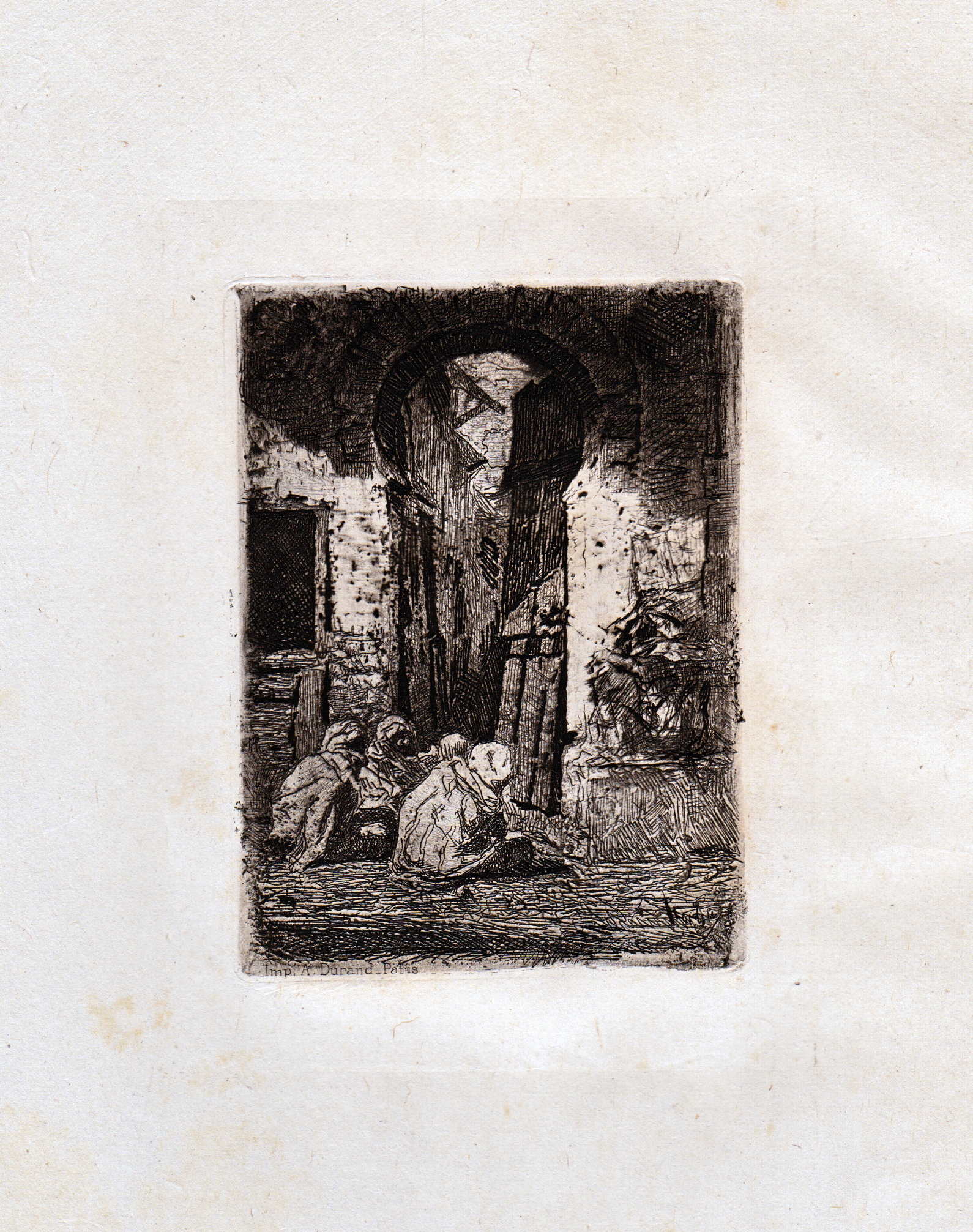 Fortuny, Tanger, Arabes Assis, etching