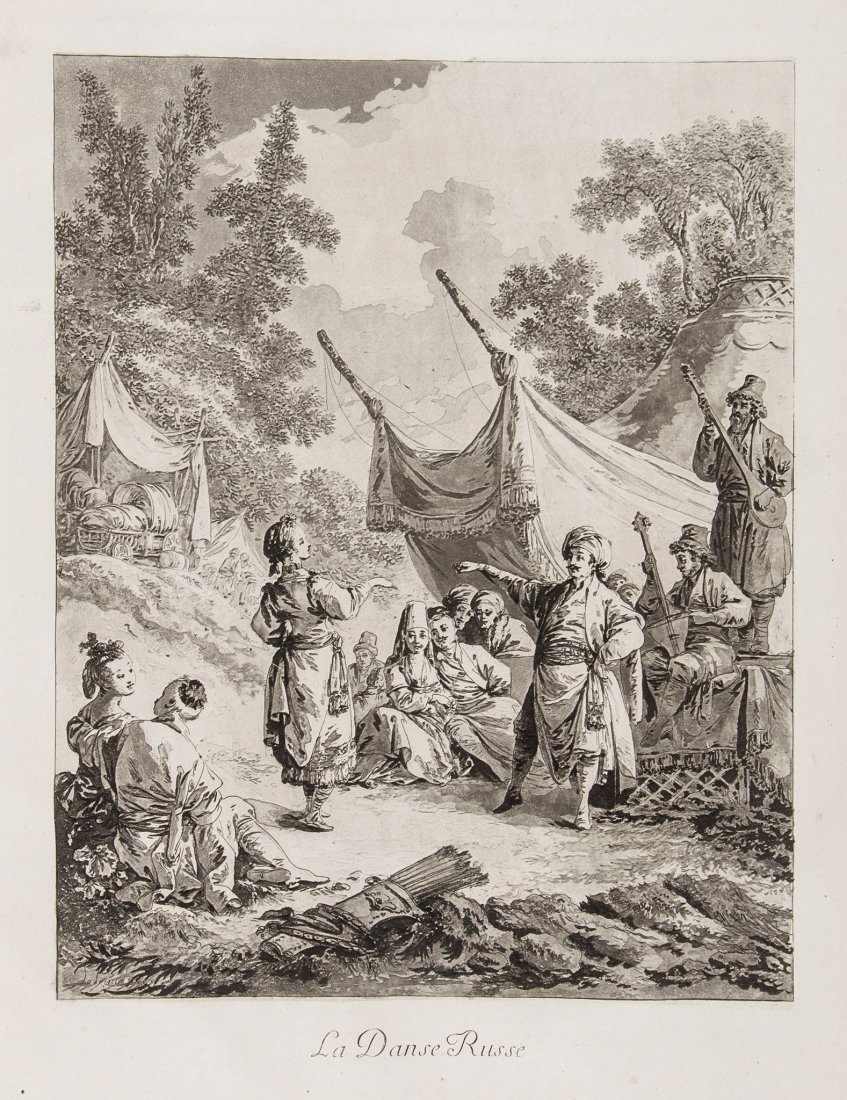 Jean-Baptiste Le Prince, Oeuvres, La Danse Russe, etching and aquatint, circa 1769