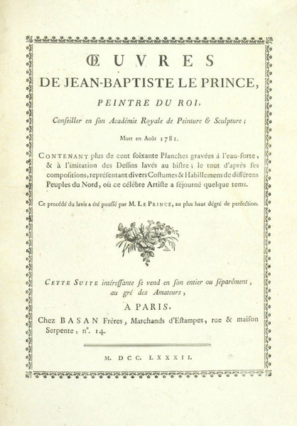 Le Prince, Oeuvres, 1782, album title