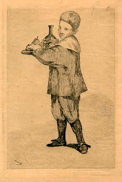 Edouard Manet, Child carrying a Platter, etching
