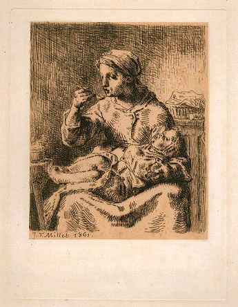 Jean-François Millet, The Porridge, etching