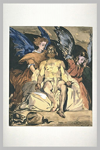 Manet, Christ aux Anges, watercolor drawing