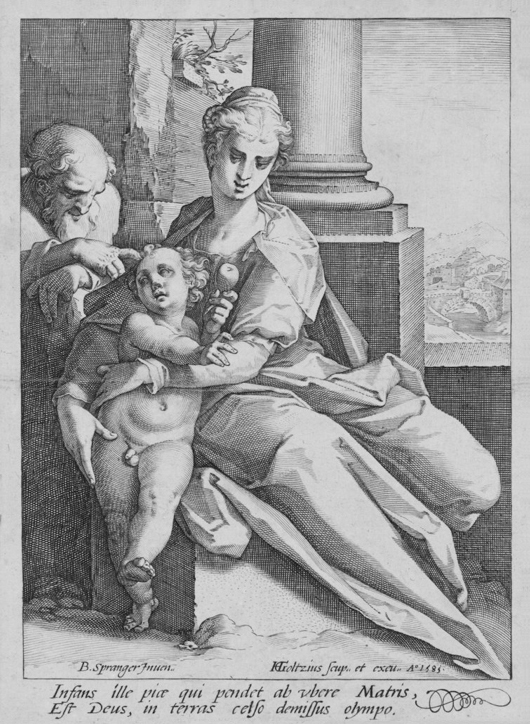 Goltzius, 1585, engraving, Holy Family
