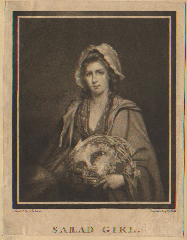 JWm Ward, after J Hoppner, Sallad Girl, mezzotint