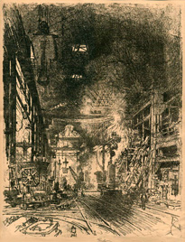 Joseph Pennell, Within the Furnaces, lithograph