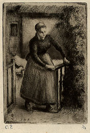 Camille Pissarro, Woman at the Gate, etching