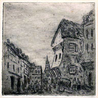 Camille Pissarro, Old Street in Rouen, etching