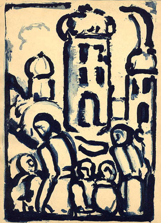 Georges Rouault, Christ and the Poor, etching