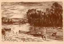 Alfred Sisley, Banks of the Loing river, lithograph