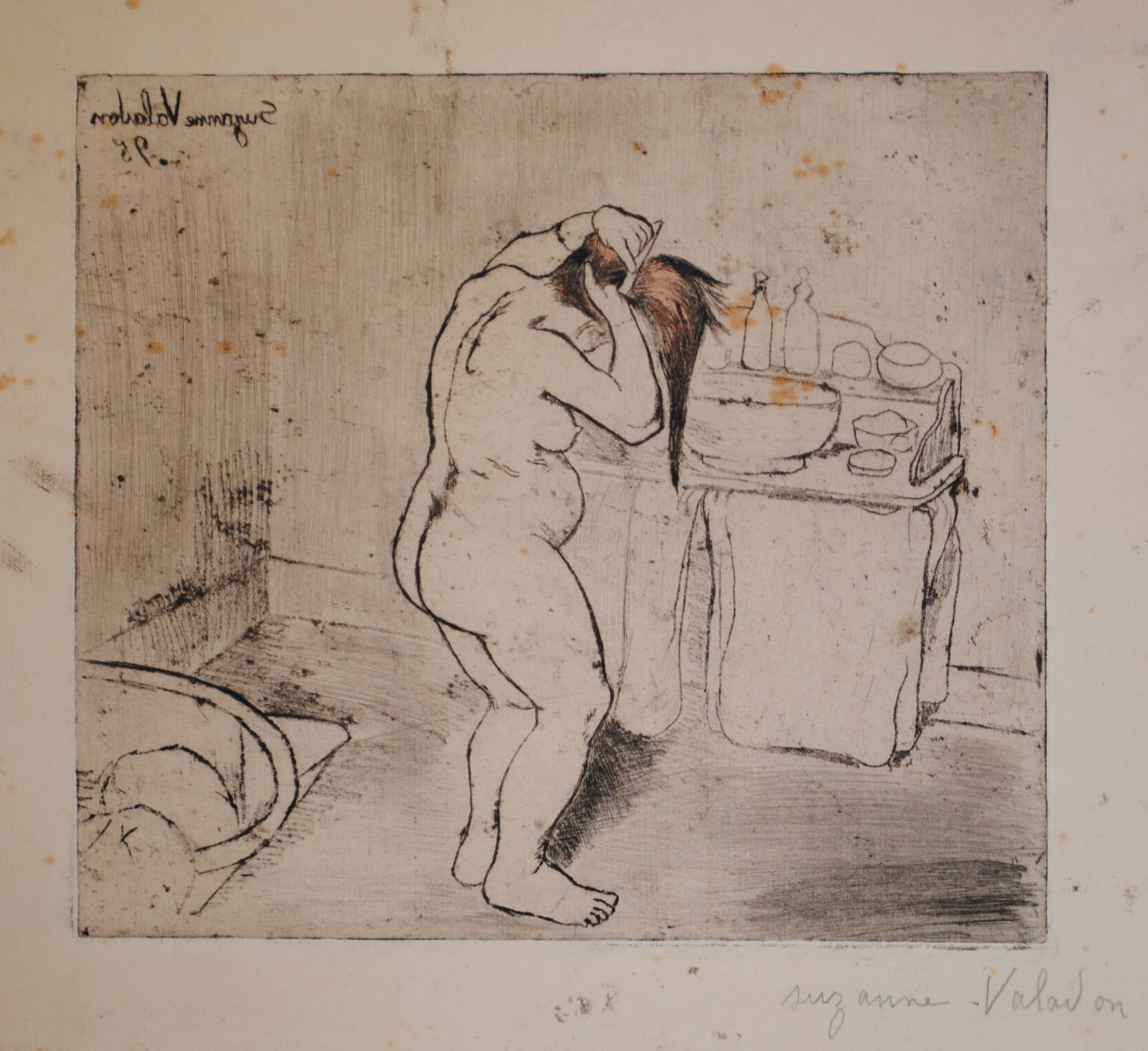 Suzanne Valadon, Catherine nue se coiffant, soft-ground etching, 1895