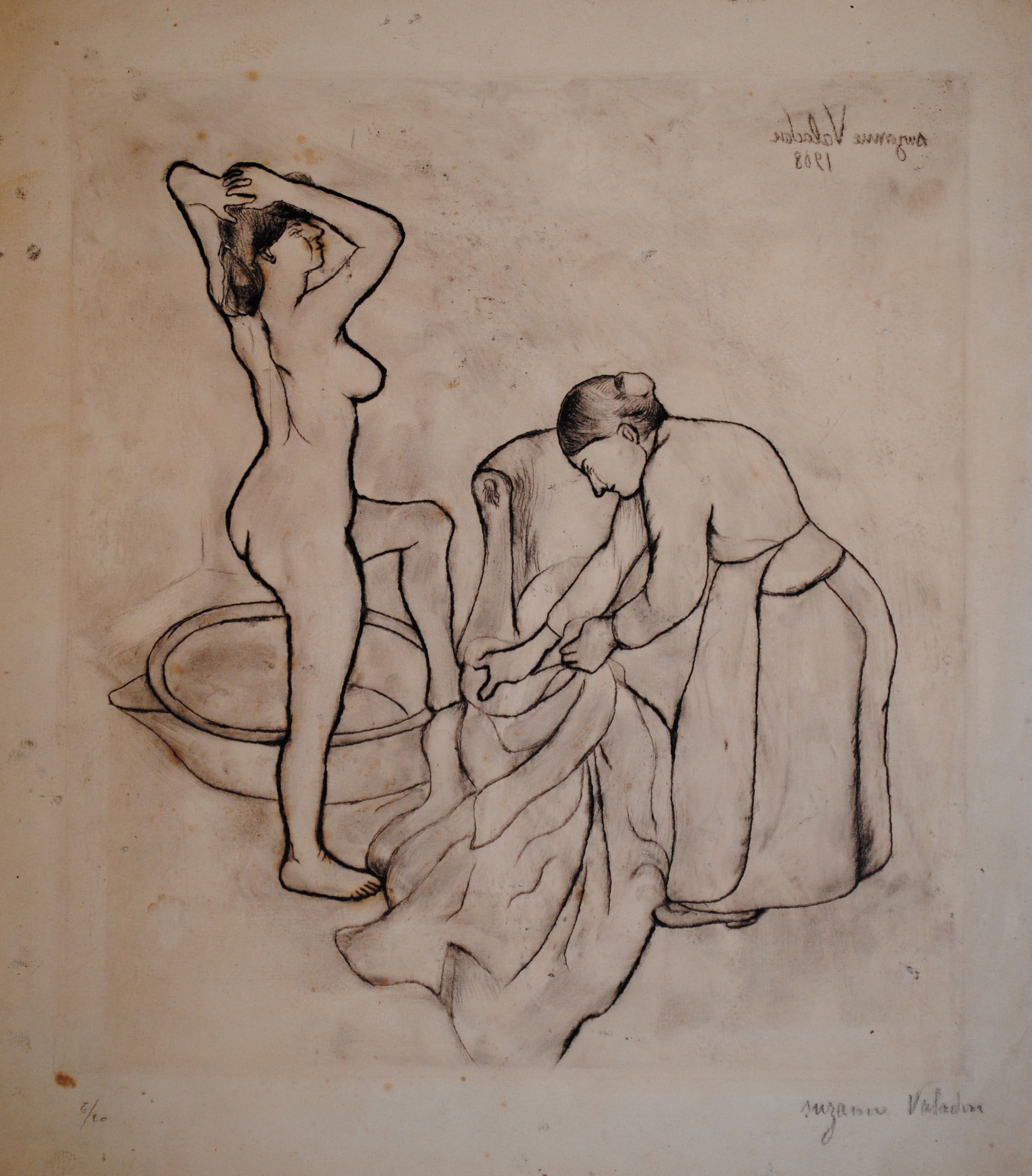 Valadon, Fille aux Gros Seins E16, 1908, soft-ground etching with drypoint