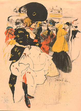 Jacques Villon, Dancing Girl at the Moulin Rouge, colour lithograph